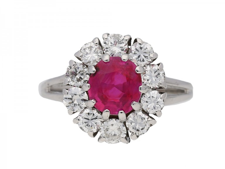front view Vintage ruby diamond cluster ring berganza hatton garden