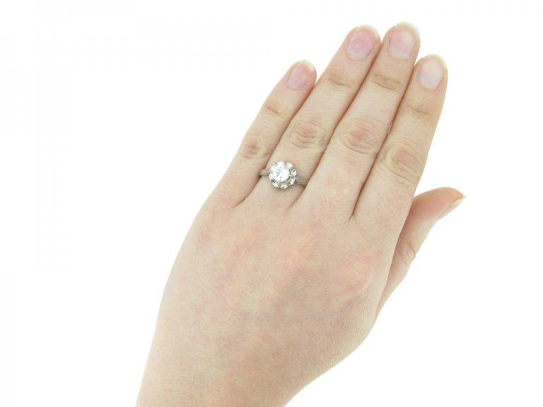 hand view vintage diamond solitaire ring berganza hatton garden