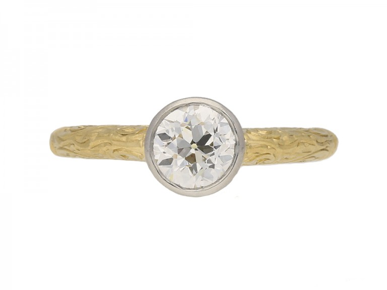 front view Antique solitaire diamond ring berganza hatton garden
