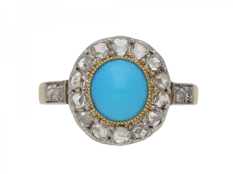 front view antique turquoise diamond ring berganza hatton garden