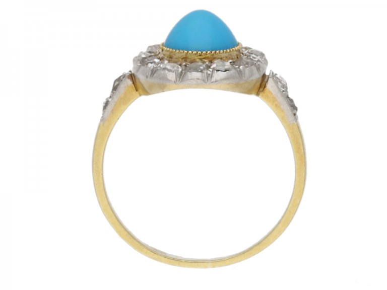 back view antique turquoise diamond ring berganza hatton garden