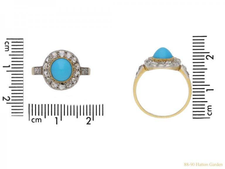 size view antique turquoise diamond ring berganza hatton garden