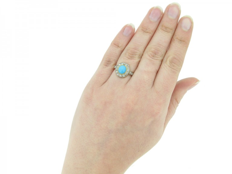 hand view antique turquoise diamond ring berganza hatton garden
