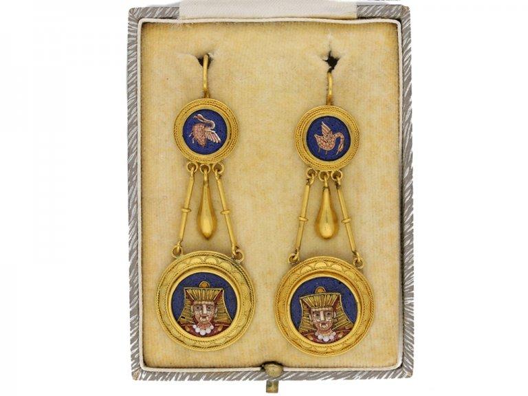 Egyptian Revival micro mosaic earrings berganza hatton garden