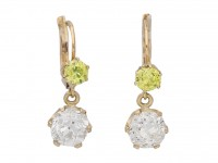 front view antique fancy diamond earrings berganza hatton garden