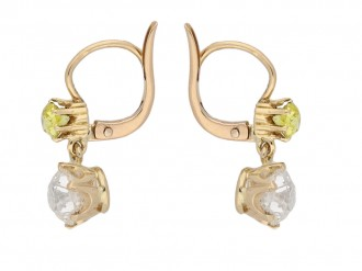 front view antique fancy diamond earrings berganza hatton garden