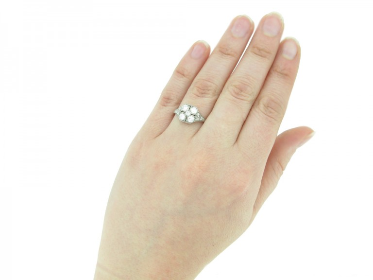 hand view antique diamond art deco engagement berganza hatton garden