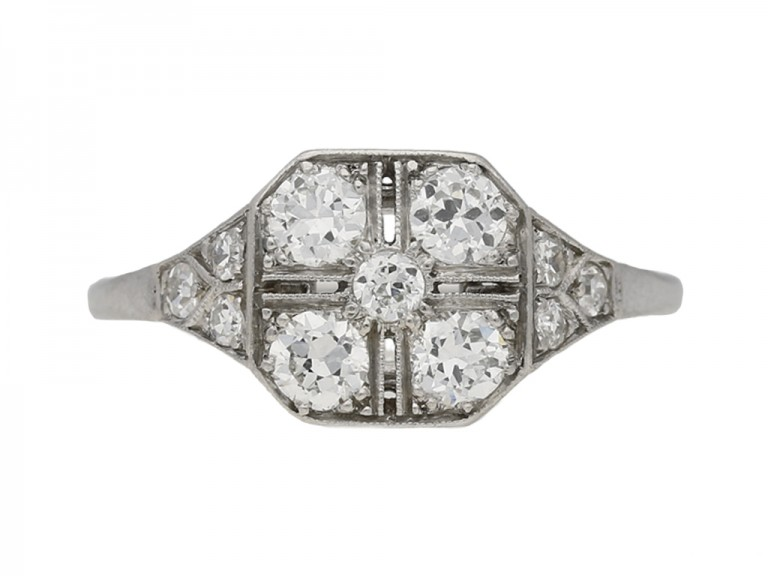 front view antique diamond art deco engagement berganza hatton garden
