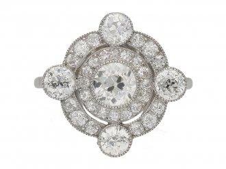 front view antique diamond cluster ring hatton garden berganza