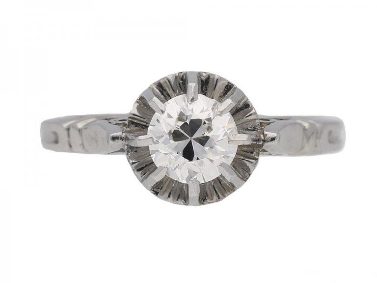 front view vintage diamond engagement ring berganza hatton garden