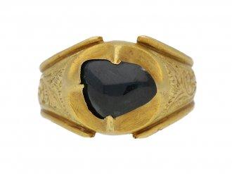 front view Medieval Duchess Lancaster sapphire ring berganza hatton garden