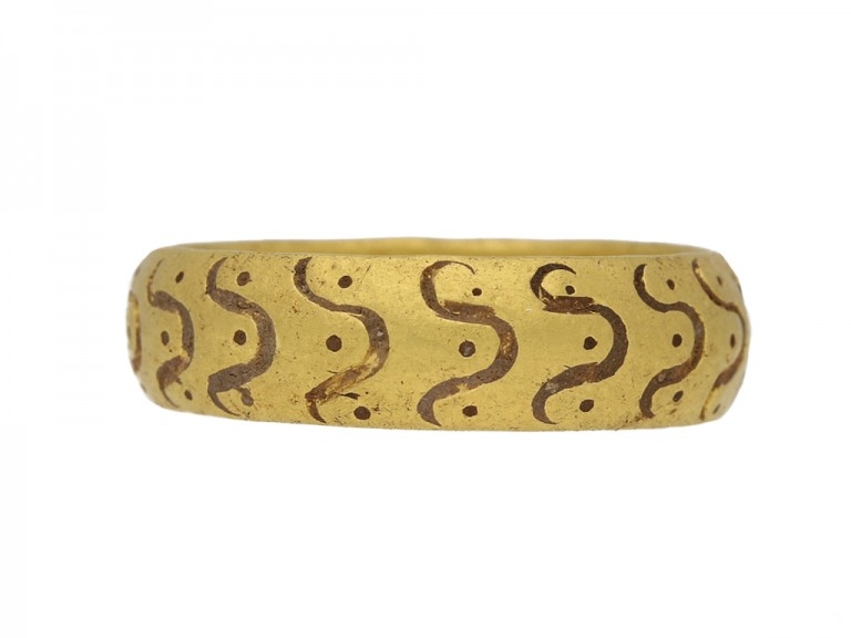 front view Medieval amuletic ring berganza hatton garden