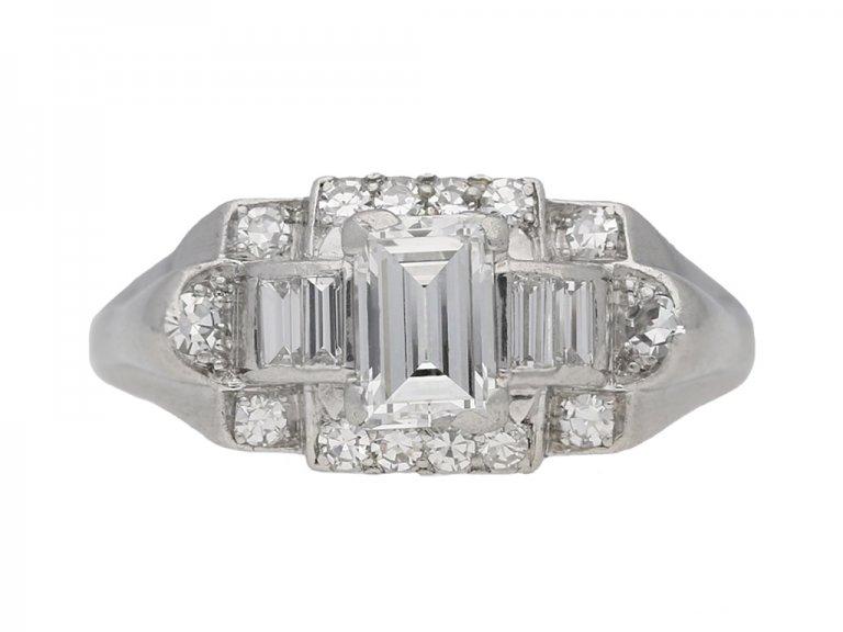 front view vintage Granat diamond ring berganza hatton garden