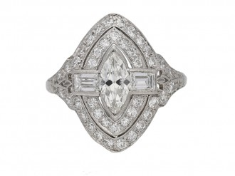 front view Antique Marquise diamond cluster ring berganza hatton garden