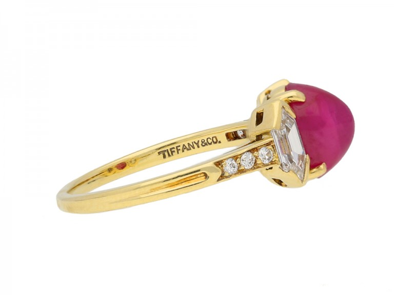 side view Vintage star ruby diamond ring Tiffany & Co berganza hatton garden