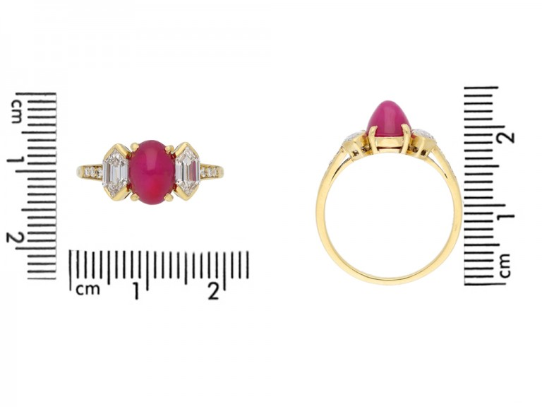 size view Vintage star ruby diamond ring Tiffany & Co berganza hatton garden