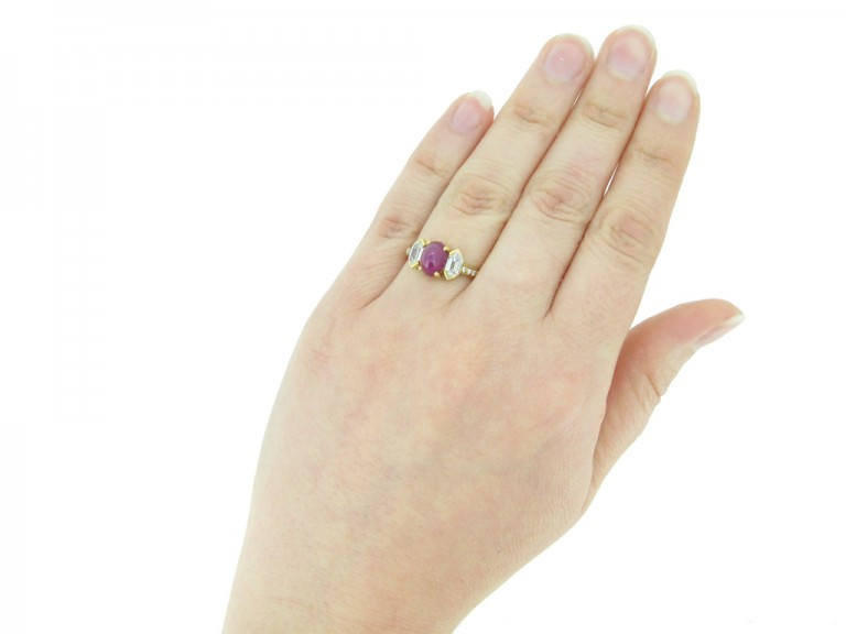 hand view Vintage star ruby diamond ring Tiffany & Co berganza hatton garden