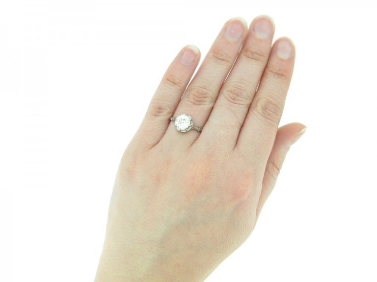 hand view antique diamond engagement ring berganza hatton garden