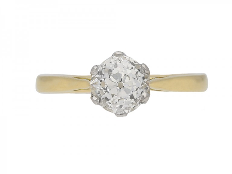 front view Vintage solitaire old cut diamond ring berganza hatton garden