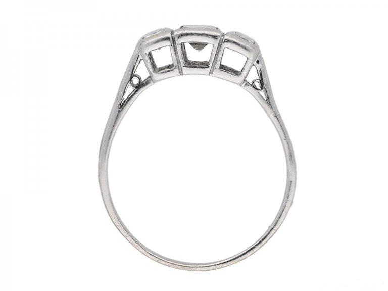 back view Vintage 3stone diamond ring berganza hatton garden