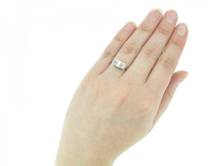 hand view Vintage 3stone diamond ring berganza hatton garden