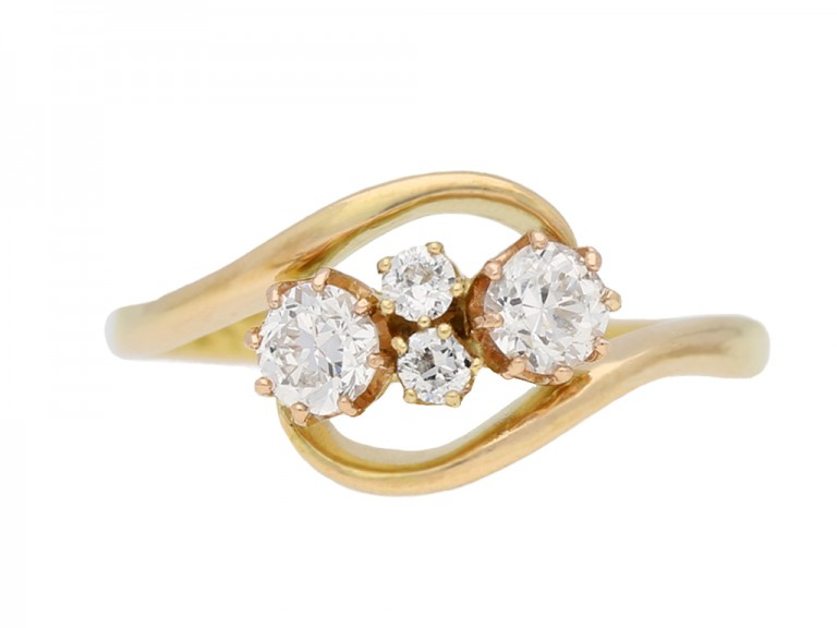 front view Vintage diamond crossover ring berganza hatton garden