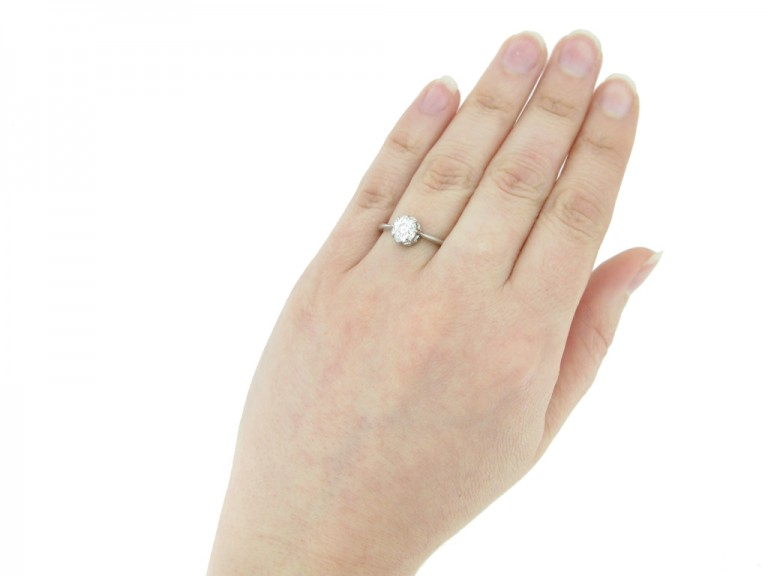 hand view antique diamond solitaire ring berganza hatton garden