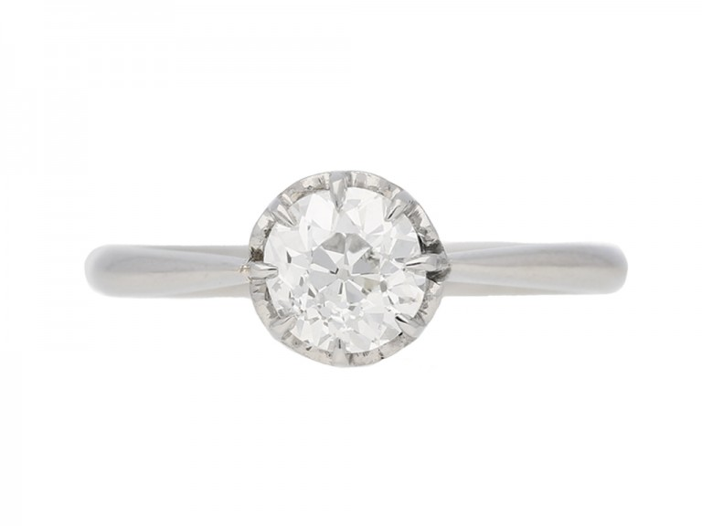 front view antique diamond solitaire ring berganza hatton garden