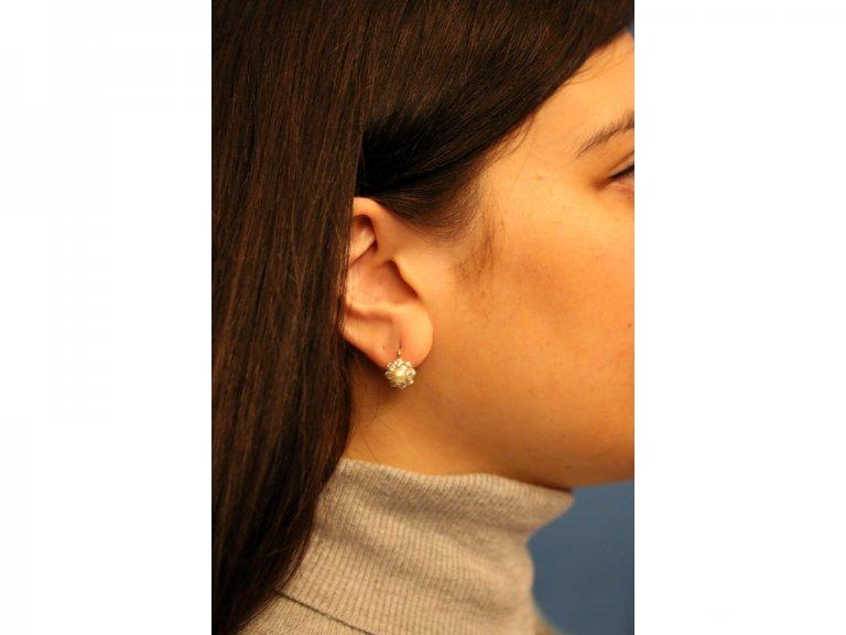 Antique natural pearl diamond earrings berganza hatton garden