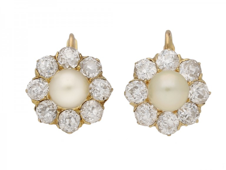 front view Antique natural pearl diamond earrings berganza hatton garden