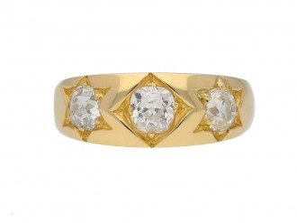 front view antique three diamond ring berganza hatton garden