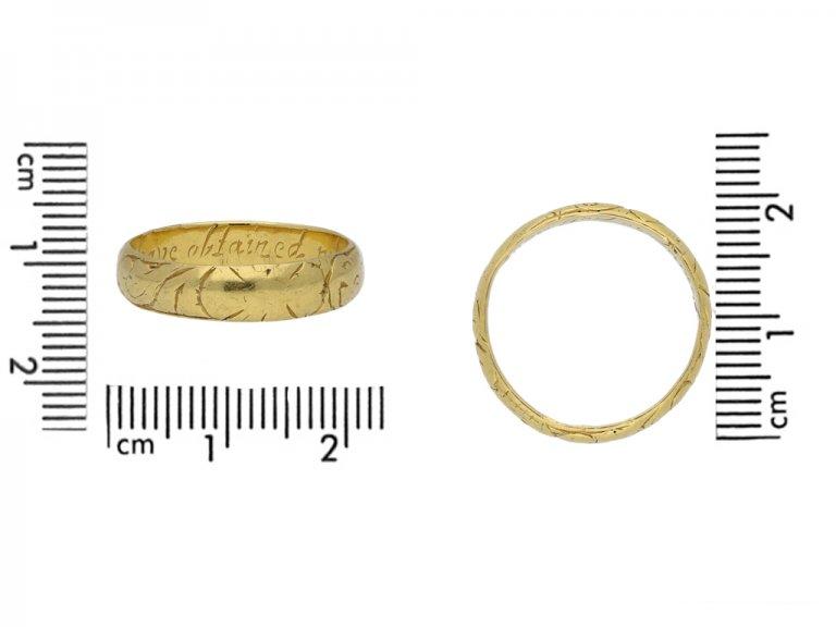 antique Gold posy ring berganza hatton garden