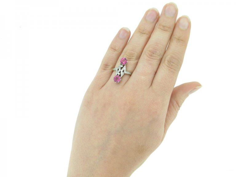 front view Belle Époque pink tourmaline diamond ring berganza hatton garden