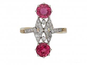 Belle Époque pink tourmaline diamond ring berganza hatton garden