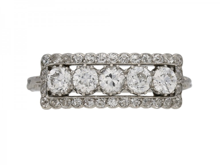 antique diamond 3 row ring hatton garden berganza