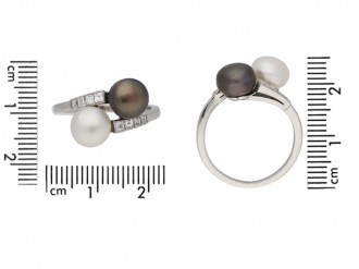front view Art Deco natural pearl diamond ring berganza hatton garden