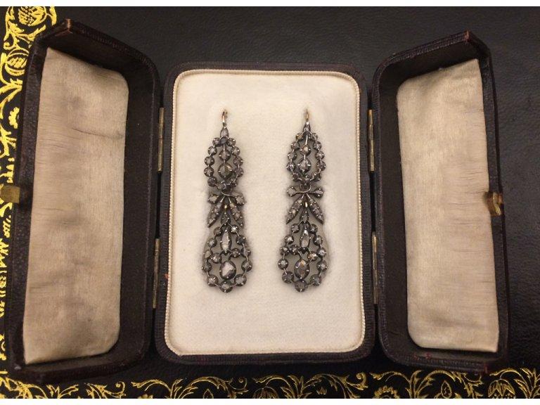 Victorian rose cut diamond drop earrings berganza hatton garden