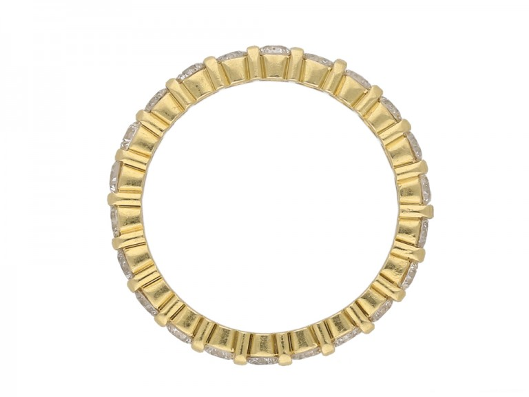 front view Diamond eternity ring yellow gold berganza hatton garden