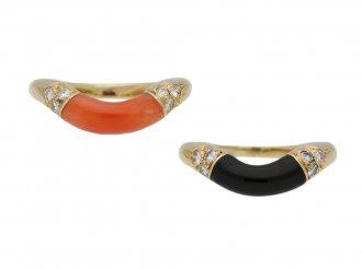 vintage Cartier coral onyx stack rings berganza hatton garden