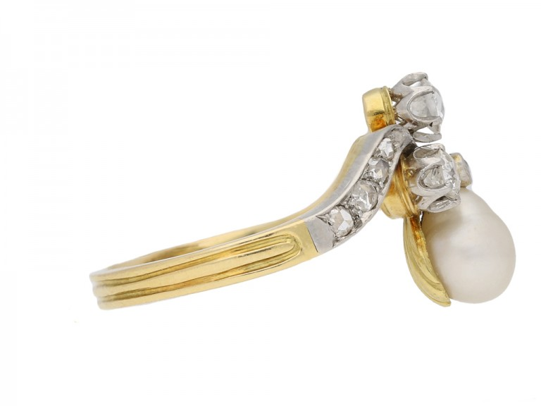 side view antique pearl diamond ring berganza hatton garden