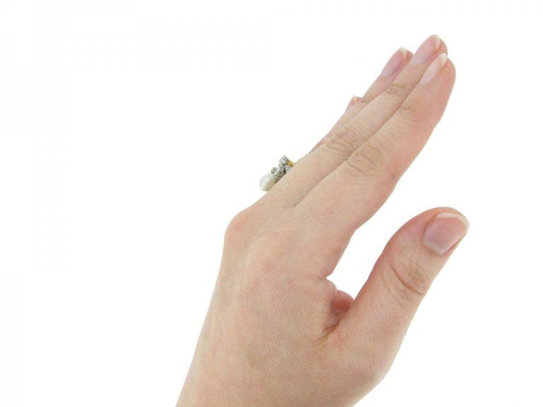 hand view antique pearl diamond ring berganza hatton garden