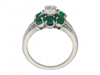 Vintage diamond emerald cluster ring berganza hatton garden
