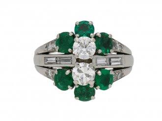 Vintage diamond emerald cluster ring berganza hatton garden