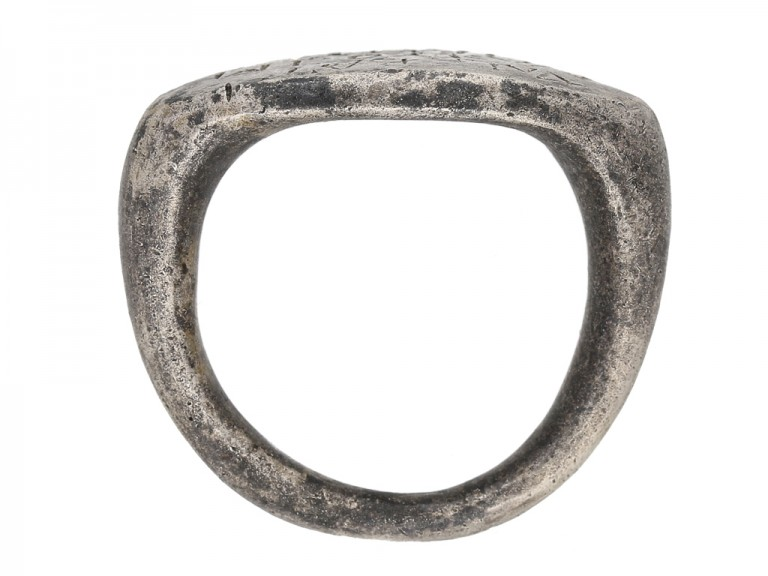 front view Ancient Roman inscribed silver ring berganza hatton garden
