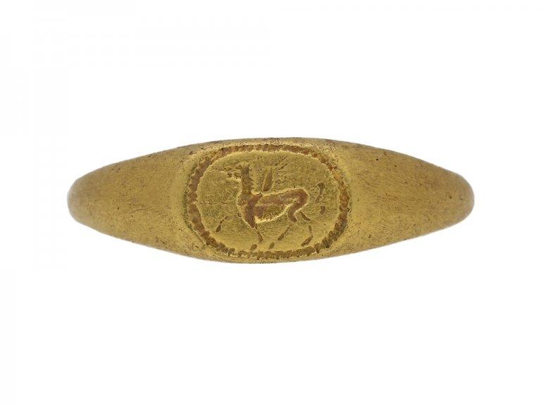 Ancient Roman gold ring Pegasus berganza hatton garden