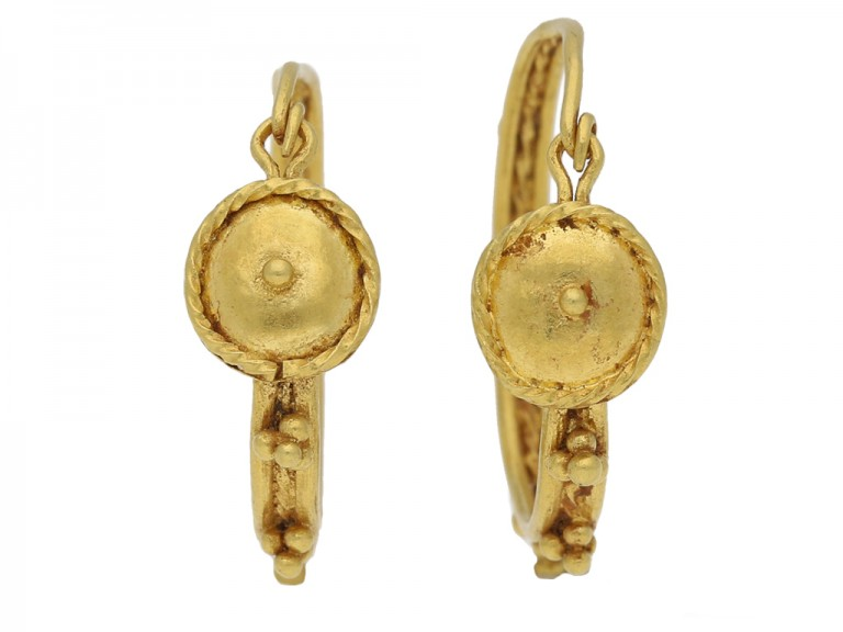 Ancient Roman gold hoop earrings berganza hatton garden