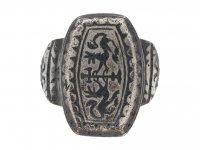 Byzantine silver niello ring berganza hatton garden