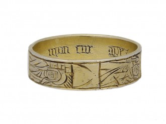 Medieval iconographic gilt ring berganza hatton garden