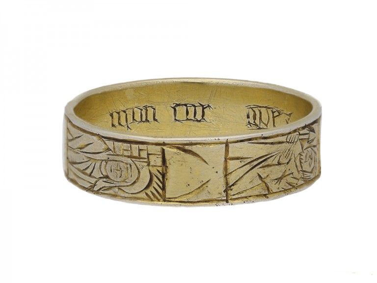 Medieval iconographic gilt ring berganza hatton garden