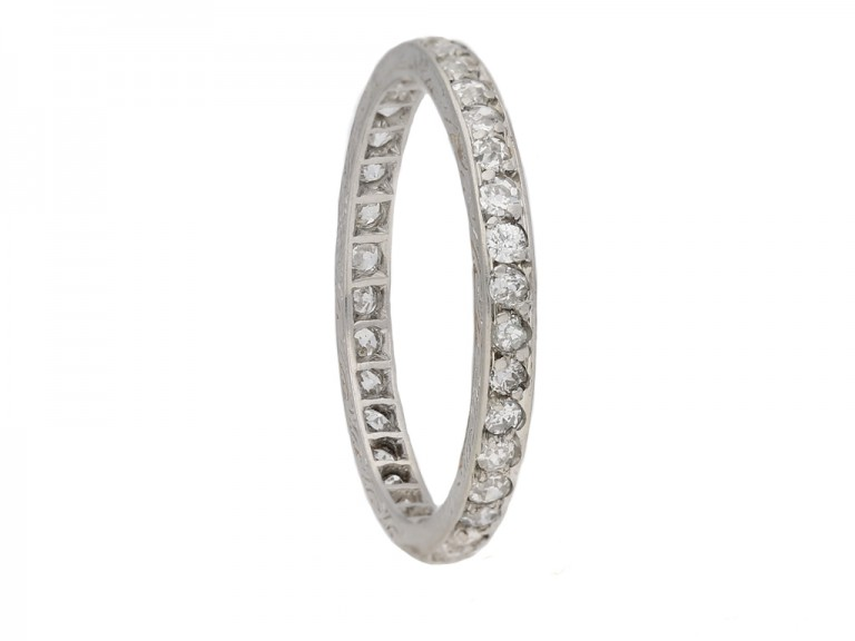 side view antique eternity diamond ring berganza hatton garden